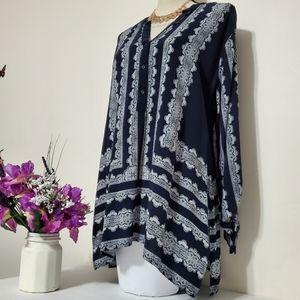 Cato Women's Blouse Sz 22/24 Blue White Paisley